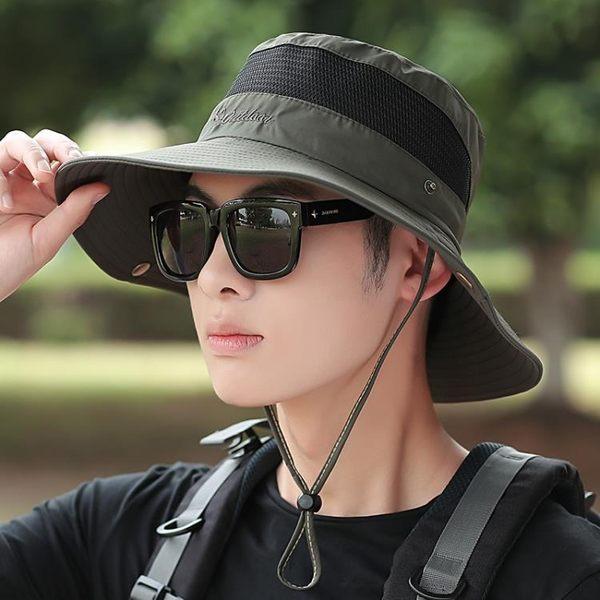 戶外釣魚登山帽子男士夏天遮陽帽沙灘防曬帽太陽帽夏季漁夫帽男   蜜拉貝爾