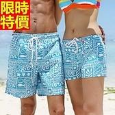 情侶款海灘褲(單件)-衝浪防水藍色小魚精美圖案男女短褲66z35【時尚巴黎】
