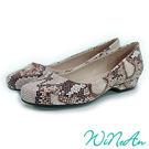 WINEAN薇妮安-經典特殊面料、舒適好走低跟鞋(古典蛇紋)-WNA-1005