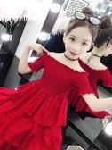 女童連身裙洋裝夏裝新款母女洋氣一字肩蛋糕裙親子裝兒童網紅公主