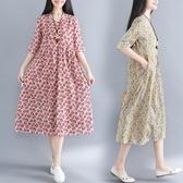 中袖洋装 棉麻碎花裙子潮秋裝大碼印花顯瘦寬鬆高腰拼接復古中袖V領洋裝 Korea時尚記