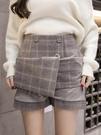 毛呢短裙女秋冬2020新款格子半身裙包臀冬裙外穿裙褲加厚冬季裙子 喵小姐