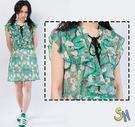 洋裝 印花 雪紡 古典印花雪紡綁帶洋裝/...