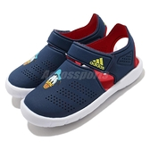adidas 涼拖鞋 Fortaswim Stripes C 藍 紅 童鞋 中童鞋 唐老鴨 魔鬼氈 拖鞋 【ACS】 FW6051