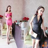 洋裝連身裙性感夜店包臀連身裙修身露背緊身掛脖女裝夏裝短裙潮