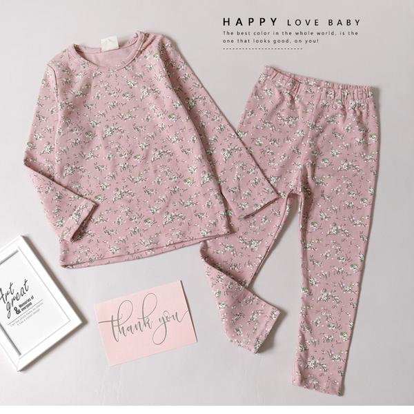純棉 小碎花粉色套裝 秋冬新款 女童套裝 純棉親膚 長袖上衣 長褲 童裝 居家服