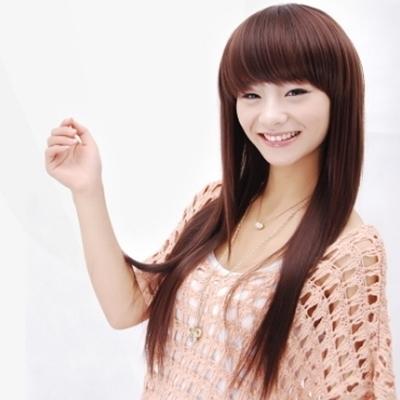 假髮(長髮)-時尚氣質直髮齊瀏海女假髮2色73em88【時尚巴黎】