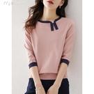 七分袖上衣21春裝新款撞色銀蔥設計感不對稱小眾針織衫七分袖套頭女 快速出貨
