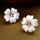 耳環 925純銀鑲鑽-唯美花朵生日情人節禮物女耳針73gt26【時尚巴黎】