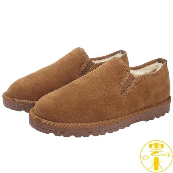 雪地靴棉鞋男冬季加絨加厚保暖低幫一腳蹬懶人情侶【雲木雜貨】