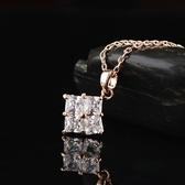 項鍊 玫瑰金 水晶純銀吊墜-簡約方形生日情人節禮物女飾品73dw162【時尚巴黎】