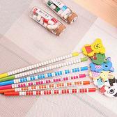 ✭米菈生活館✭【Q306】動物彈簧搖頭鉛筆(6支) 木製 文具 韓國 學生 辦公 閨密 禮物 繪畫 作業