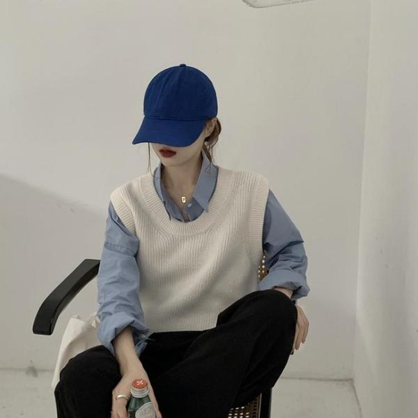 背心 白色針織馬甲女2020年秋季新款韓版V領百搭寬鬆外穿毛衣馬夾背心QB67