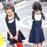 女童牛仔吊帶裙 洋裝冬中大童吊帶裙子兒童背帶裙 BF13390『寶貝兒童裝』