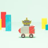 Disney KIDEA 迪士尼益智平衡積木 小木塊 玩具總動員 三眼怪火箭小車組_BD24910