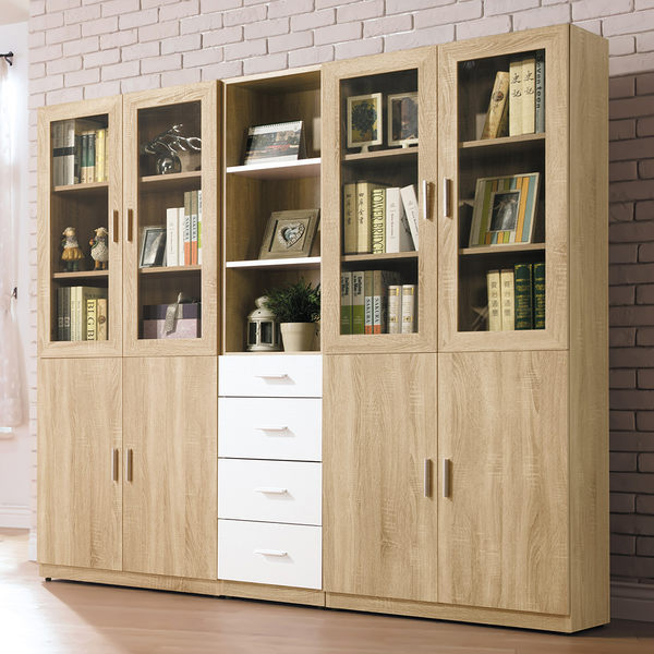 【森可家居】貝莉6.6尺系統組合書櫃 7HY503-1 木紋質感 無印北歐風 MIT 台灣製造