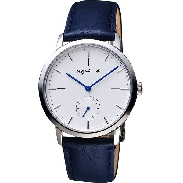 agnes b. 法國時尚小秒針手錶-白x深藍色錶帶/38mm VD78-KLB0B(BN4001X1)