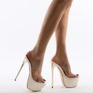 特惠 恨天高粗跟鞋女拖鞋18cm20公分超高跟性感涼拖走秀水晶透明拖鞋夏