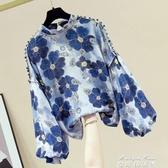 襯衫女 秋季新款時尚高檔碎花絲襯衫女設計感小眾燈籠袖雪紡女上衣 麥琪