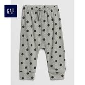 Gap女嬰兒 柔軟有機棉波點鬆緊腰長褲 494337-亮麻灰色