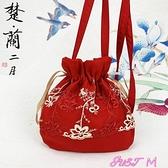 古風包原創配漢服包包女新款2021紅色可愛仙女迷你側背斜背水桶包小古風 JUST M