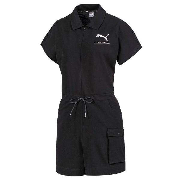 【現貨】PUMA Nu-tility 女裝 連身短褲 套裝 休閒 流行 棉質 鬆緊帶 口袋 亞規 黑【運動世界】58386201