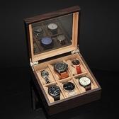 手錶收藏盒 中式木質手錶收納盒家用簡約手錶盒腕錶收藏展示包裝盒帶天窗【快速出貨】