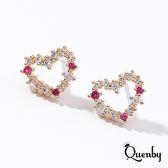 Quenby 925純銀 甜甜少女滿鑽鋯石愛心耳環/耳針/銀飾