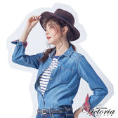 Victoria 文字飾釘異材質拼接短袖T-女-藍底白條