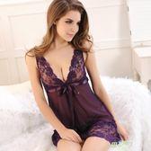 睡衣 紫色蕾絲透明薄紗內衣吊帶睡裙大尺碼女士性感睡衣女誘惑夏