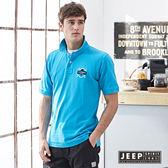 【JEEP】美式純棉電繡圖騰短袖POLO衫 (水藍)