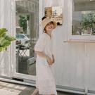 Queen Shop【01085169】蕾絲雕花刺繡棉麻長洋裝*現+預*