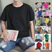 簡約純色短袖T恤男士韓版修身上衣服百搭打底體恤衫潮流男裝