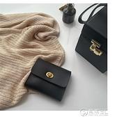 韓國新品ins冷淡風自制復古錢包精致黑色小巧卡包軟皮駕照證件包 電購3C