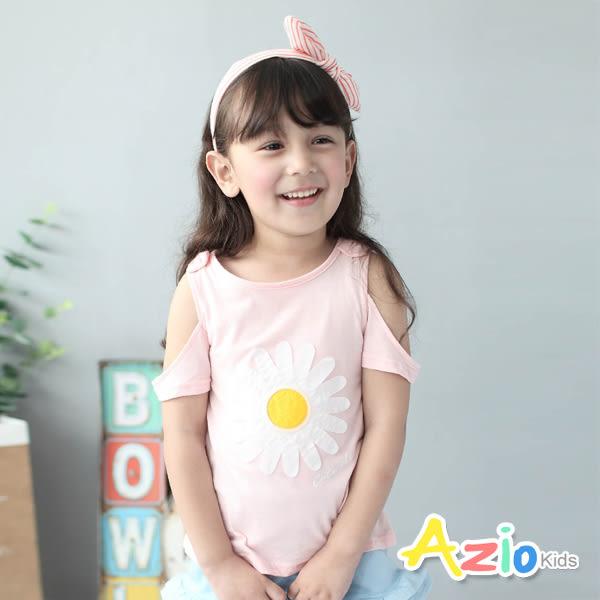 童裝 上衣 蕾絲荷葉袖/立體大花朵/線繡花草瓶短袖上衣(共3色) Azio Kids 美國派 童裝