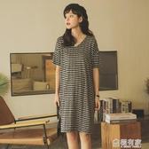 孕婦春裝夏裝上衣短袖孕婦洋裝夏中長款條紋打底衫寬鬆t恤裙子 極有家