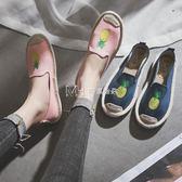 樂福鞋  平底休閒火烈鳥帆布鞋草編漁夫鞋復古懶人鞋樂福鞋女鞋單鞋  瑪奇哈朵