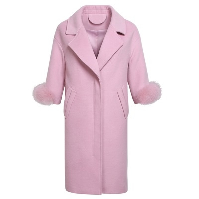 毛呢外套-長版翻領狐狸毛裝飾袖口純色女大衣2色73ui16【巴黎精品】