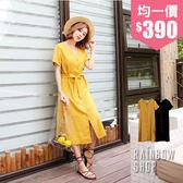 休閒木排釦綁帶短袖洋裝-KK-Rainbow【A49375】