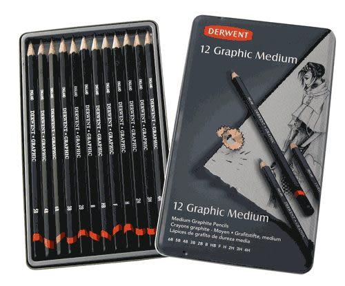DERWENT 達爾文 設計製圖鉛筆 鐵盒12支(9B-H),素描*34215