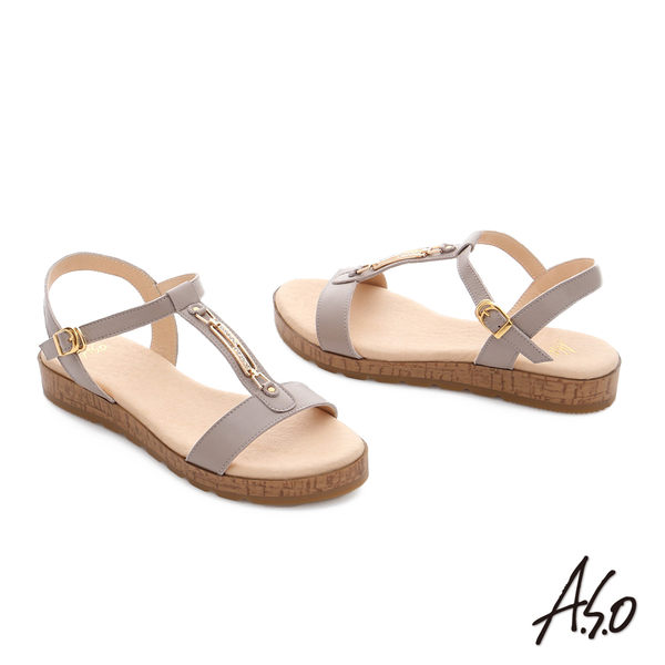 A.S.O 嬉皮假期 工字鑽飾釦厚底涼拖鞋  淺灰