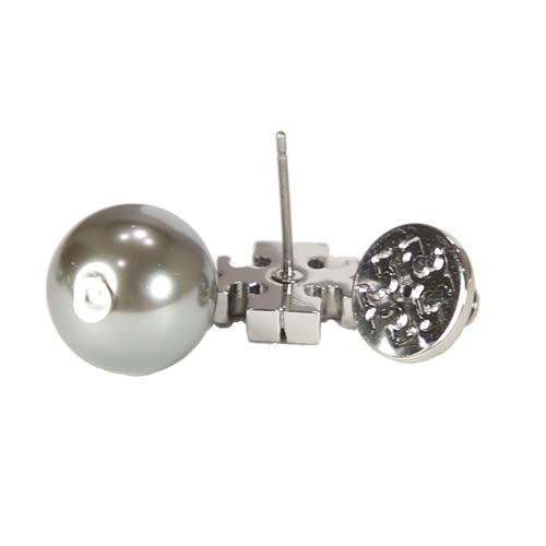 TORY BURCH 經典金屬雙T垂墜珍珠針式耳環(銀灰)