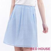RED HOUSE-蕾赫斯-透明感條紋及膝裙(水藍色)