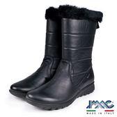 【IMAC】義大利毛飾真皮氣墊中筒靴  黑色(82748-BL)