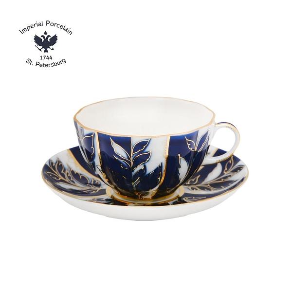 俄羅斯Imperial Porcelain-質感藍調系列-藍調金葉22K金手工150ml杯盤禮組-原廠盒裝