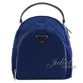 茱麗葉精品【全新現貨】 PRADA 1BZ066 三角LOGO 尼龍帆布雙肩後背包.寶藍 小款