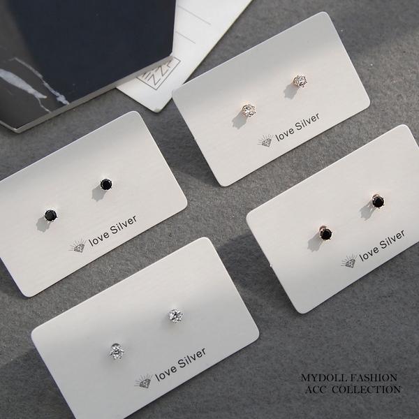 鋼針耳環‧邂逅‧4mm水鑽系列耳環 / 4款 【K19111501】MyDoll