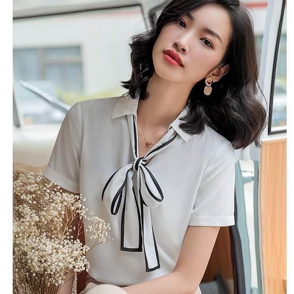 配色領口綁蝴蝶結新鮮人OL短袖上衣襯衫[9S087-PF]美之札