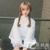 夏季女裝韓版寬松長袖襯衣學生可愛白色寬松上衣少女燈籠袖襯衫潮  TC原創館
