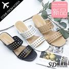韓國空運 時尚鏤空洞洞設計 顯瘦增高 粗跟涼拖鞋【F713275】版型偏小/SD韓美鞋